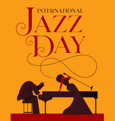 Jazz day poster of singer and piano player vector