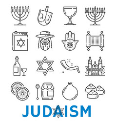 Judaism religious symbols thin line icons vector