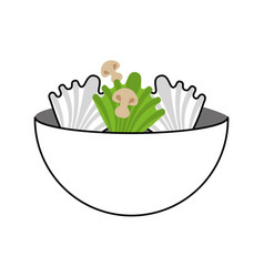 Kitchen vessel with vegetables vector