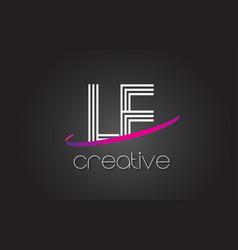 Le l e letter logo with lines design and purple vector