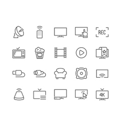 Line tv icons vector