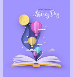 Literacy day open book papercut hot air balloon vector