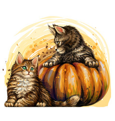 Little kittens and pumpkins in a watercolor style vector