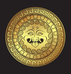 Medusa gorgon golden head on a shield hand drawn vector