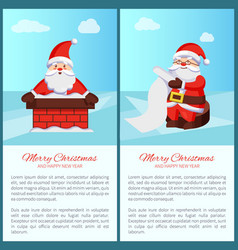 Merry christmas santa claus in chimney read scroll vector