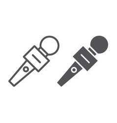 microphone line and glyph icon music and audio vector image