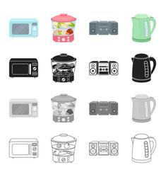 microwave household steamer music center vector image