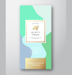 minty chocolate label abstract packaging vector image