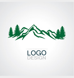 mountain green forest logo vector image