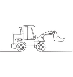 one continuous line drawing bulldozer vector image