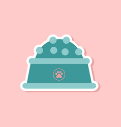 Paper sticker on stylish background dog food bowl vector