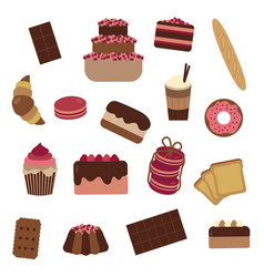 Pastry cakes and sweets icon set vector