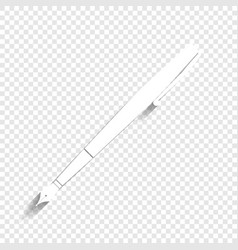 Pen sign white icon with vector