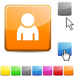 Person glossy button vector image