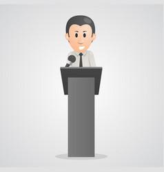 person speaks into microphone podium vector image