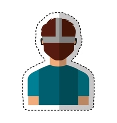 Person with augmented reality glasses vector