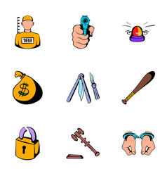 Prison icons set cartoon style vector