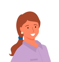 Profile smiling woman in purple blouse isolated vector
