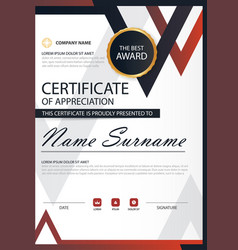 Red black elegance vertical certificate with vector