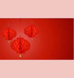 red paper lanterns composition eco frendly vector image