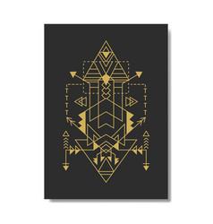 Sacred geometry pyramid navajo style vector