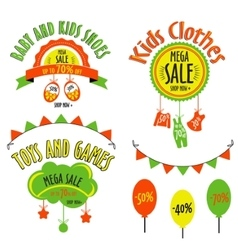 Sale set for kids stores sale label for vector