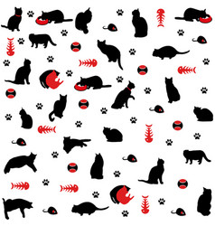Seamless pattern cat figure icons vector