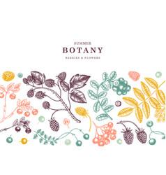 Seasonal berries banner design in color wild vector