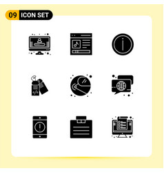 Set 9 commercial solid glyphs pack vector