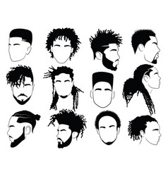 set afro hairstyles for men collection vector image