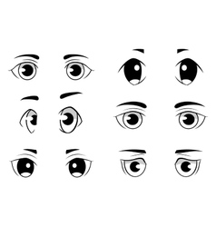 Set anime style eyes isolated on white vector