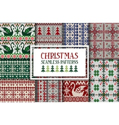 Set of traditional knitted Christmas patterns vector image