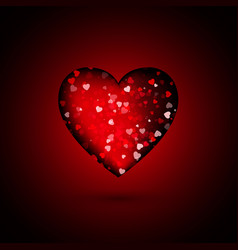 shiny red heart with little sparkles hearts vector image