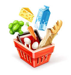 Shopping basket with organic vector
