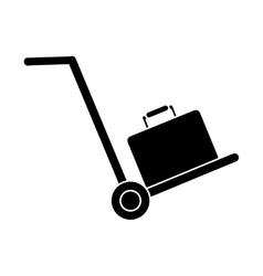 silhouette hand cart suitcase luggage travel vector image