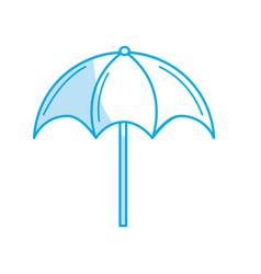 silhouette nice umbrella open to protect of sun vector image
