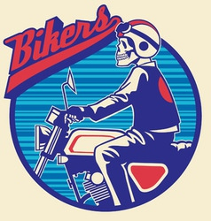 Skull rider ride a motor cycle with circle vector