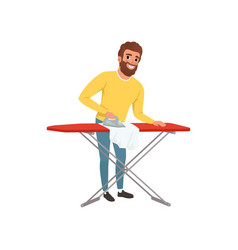 Smiling man ironing clothes on an ironing board vector