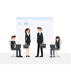 smiling men and women in meeting room vector image