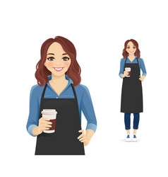 smiling woman in apron holding coffee vector image