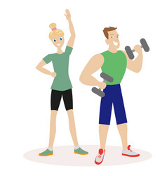 Sport people man and woman engaged in fitness or vector