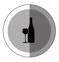 Sticker monochrome circular emblem with bottle and vector