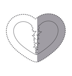sticker monochrome silhouette of broken heart vector image