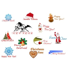 Symbols of Christmas and New Year vector image vector image