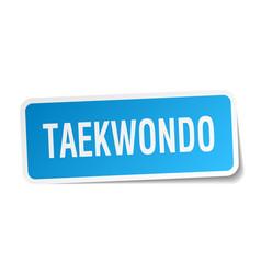 Taekwondo square sticker on white vector