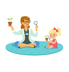 Teacher and little girl sitting on the floor and vector