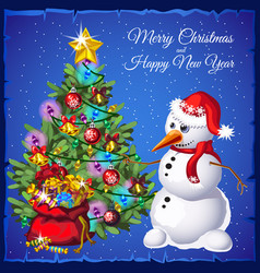 template christmas card snowman near christmas vector image
