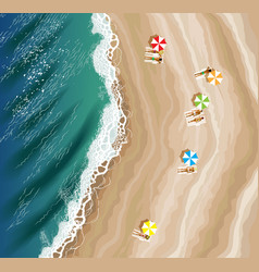 Top view of beach vector