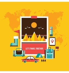 Tourism and travel Set of modern flat design vector image