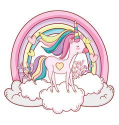 Unicorn on clouds cartoons vector